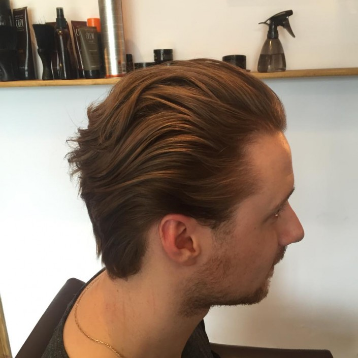 One of our happy customers. Was hapy with our affordable glasgow barbers offers on his new haircut. Swept back hair